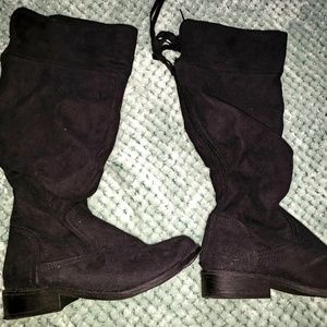 New! Girls Black Suede Knee High Boots